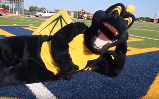 SPIRO THE MASCOT TESTS THE NEW SHAW SPORTS TURF