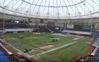TAMPA BAY RAYS TROPICANA FIELD GETS NEW TRUHOP TRIPLE CROWN PLAYING FIELD BY SHAW SPORTS TURF